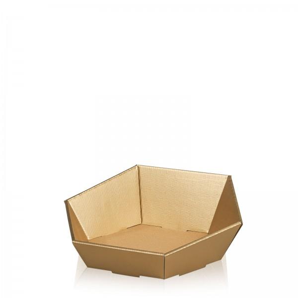 """Präsentkorb 6-eckig """"Seta Gold"""" -klein-"""
