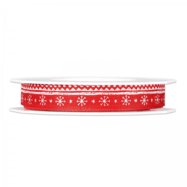 "Geschenkband ""Winter"", Rot/Weiß, 15mm x 20m"