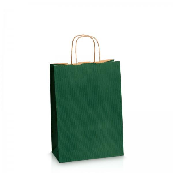 Einkaufstasche aus Kraftpapier Dunkelgrün gerippt -M-