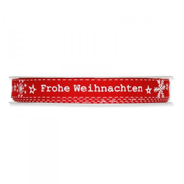 """Geschenkband """"Frohe Weihnachten"""" Rot/Weiß, 15mm x 18m"""