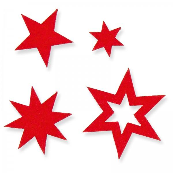 "Filz-Sticker ""Sterne"" Rot, Beutel mit 24 Stück"