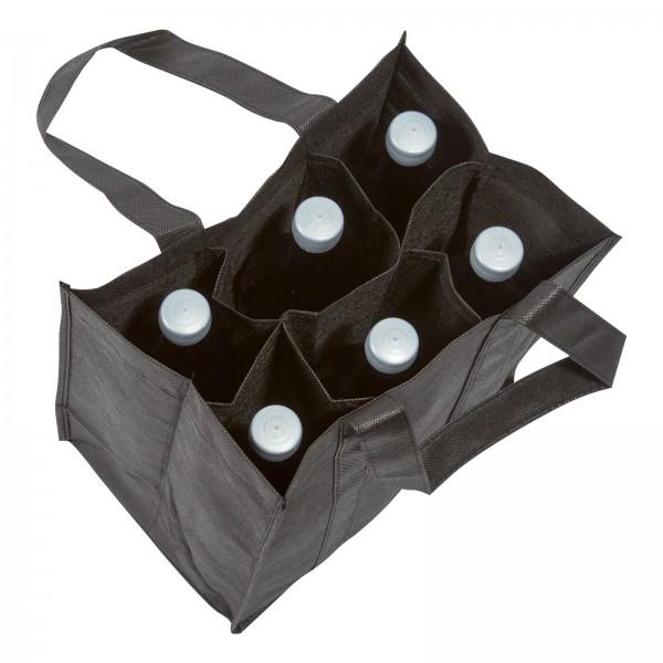 Einkaufstasche 6er Schwarz aus Vlies (non-woven)