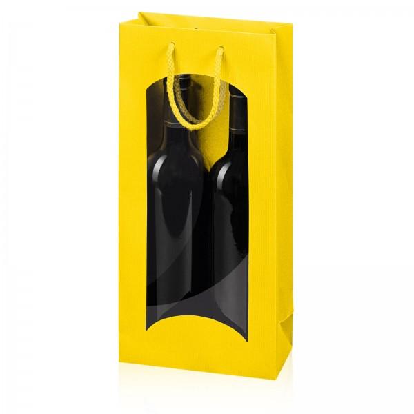 """Papiertragetasche """"Linea"""" Gelb mit Fenster 2er"""