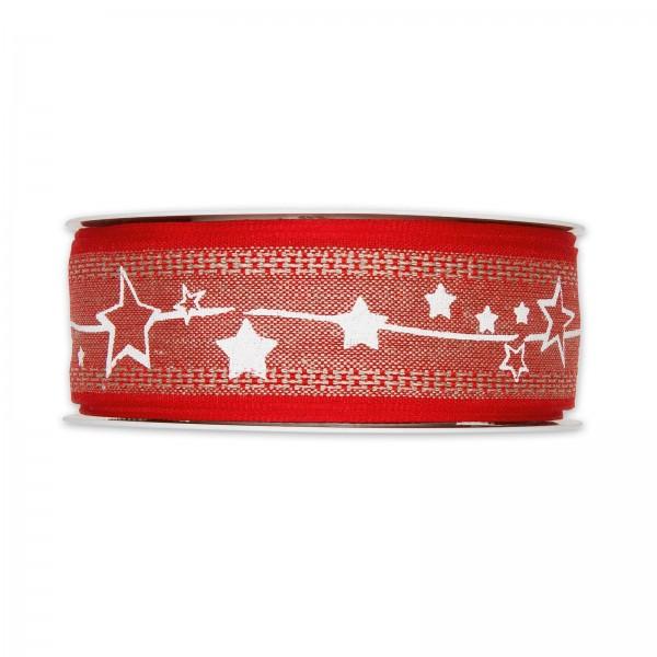 """Geschenkband """"Sternenranke"""", Leinen Rot/Weiß, 35mm x 15m"""