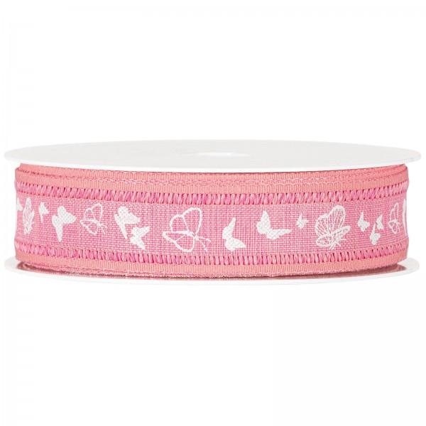 """Geschenkband """"Schmetterlinge"""" Pink, 25mm x 18m"""