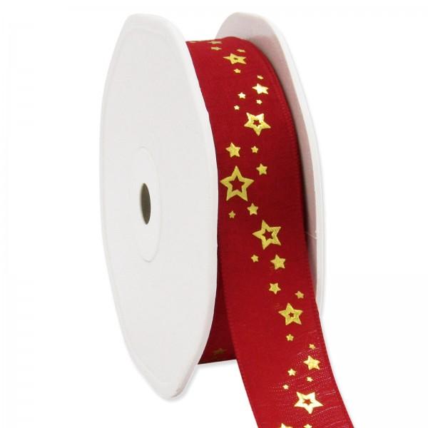 "Geschenkband ""Sternchen"" Rot/Gold, 22mm x 15m"
