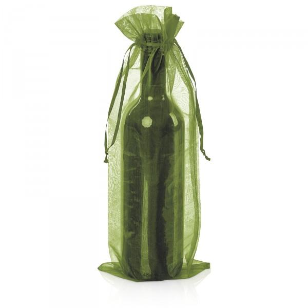 Flaschenbeutel Organza Grün, 35x14cm