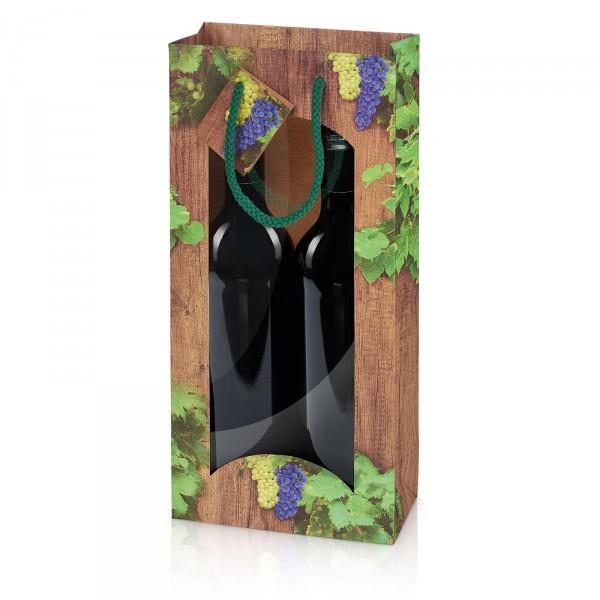 """Papiertragetasche """"Timber Wine"""" mit Fenster 2er"""