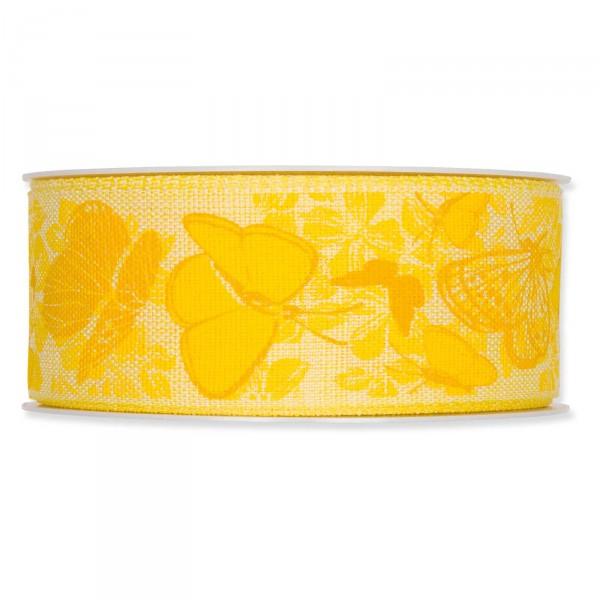"""Geschenkband """"Schmetterlinge"""" 40mm x 20m, Gelb"""