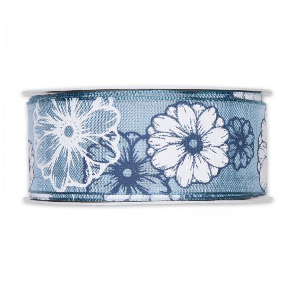 """Geschenkband """"Flora"""" Blau/Weiß, 40mm x 20m"""