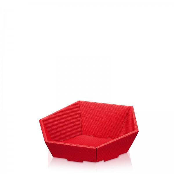 Präsentkorb 6-eckig Modern Rot -klein-