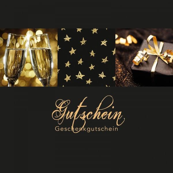 """Gutschein """"Frohe Weihnachten"""" Schwarz, 120x120mm"""