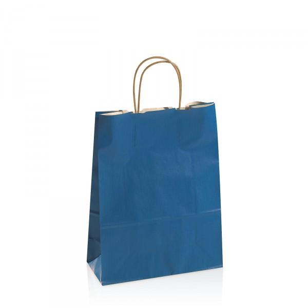 Einkaufstasche aus Kraftpapier Blau -mittel-
