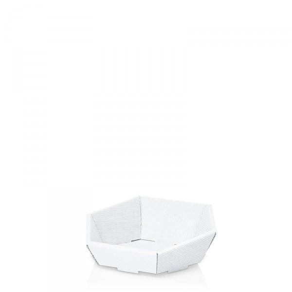 """Präsentkorb 6-eckig """"Modern Weiß"""" -mini-"""
