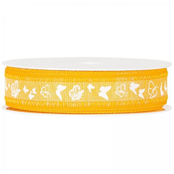 """Geschenkband """"Schmetterlinge"""" Gelb, 25mm x 18m"""