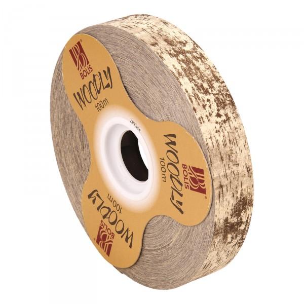 """Geschenkband """"Woodly Natur"""" Synthetik 24mm x 100m"""