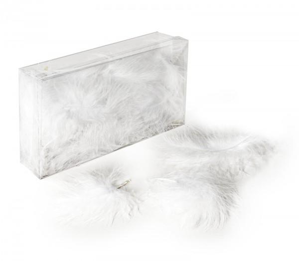 Marabufedern lose, 8g/Box (ca. 50 Stück), Weiß