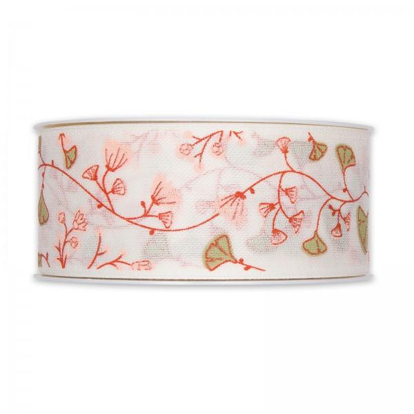 """Geschenkband """"Blumenranke"""", Apricot/Weiß, 40mm x 18m"""