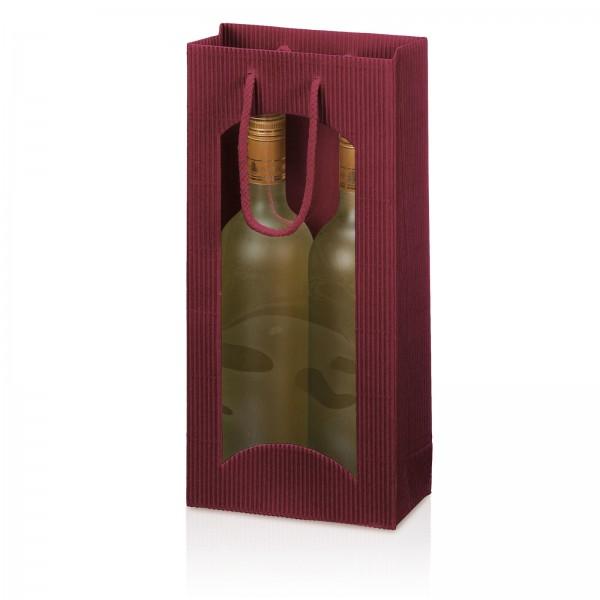 Tragetasche Bordeaux offene Welle mit Fenster 2er