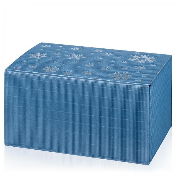 """Modern Blau Metallic Schneeflocken"",6er Präsentkarton"