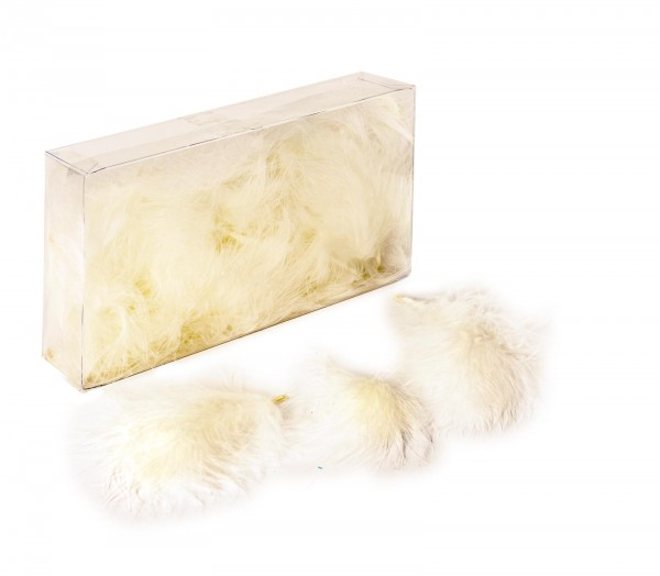Marabufedern lose, 8g/Box (ca. 50 Stück), Creme