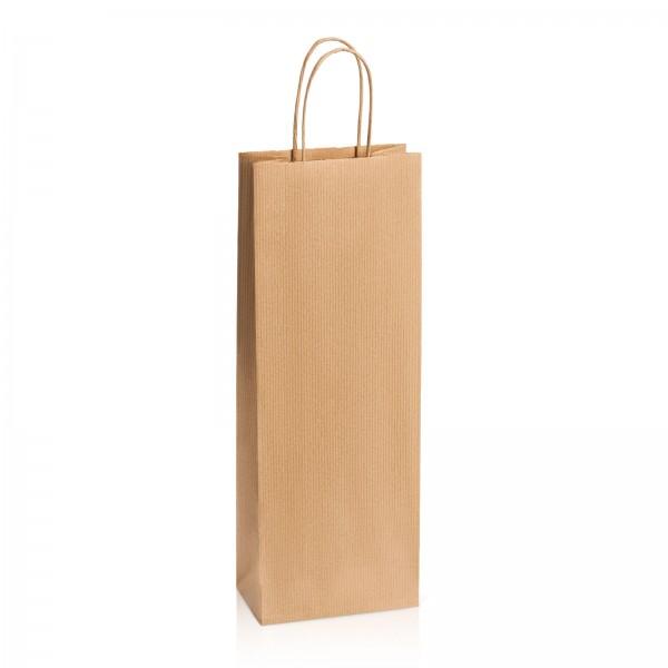 Einkaufstasche aus Kraftpapier Natur gerippt -Bottle-